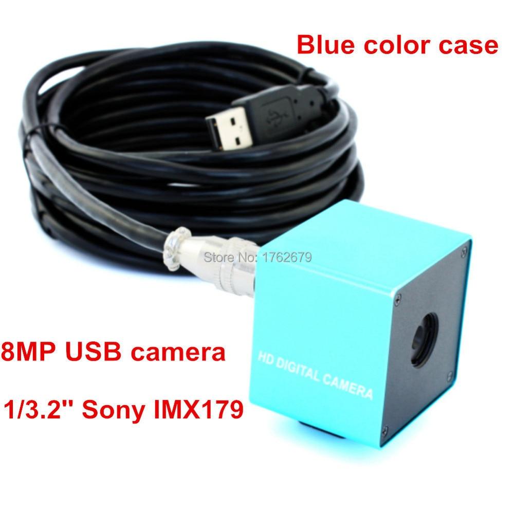 Blauwe Kleur Metal Case 75 Graden Geen Vervorming Lens 8 Megapixel Hoge Resolutie Usb Endoscoop Camera Software Professioneel Ontwerp
