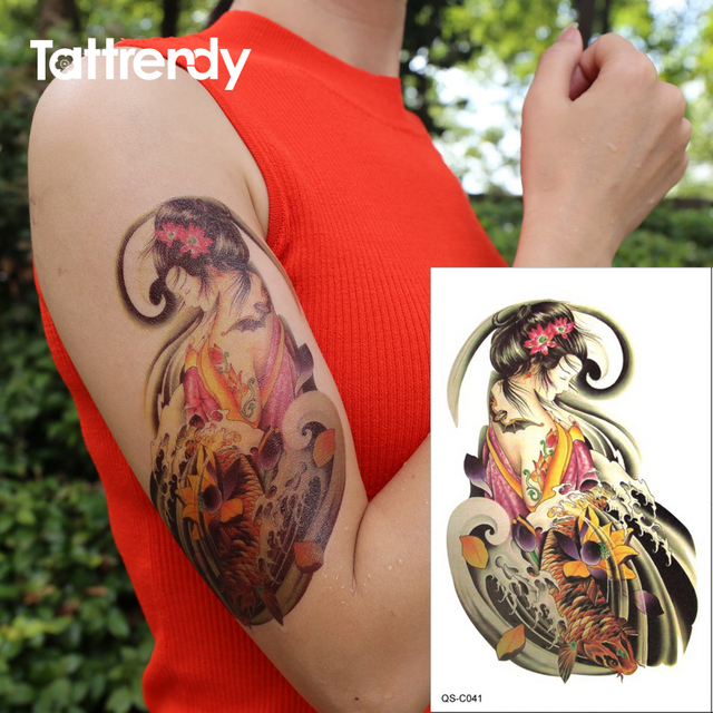 Chinese Ancient Costume Women Tattoo Waterproof Design Color Flower