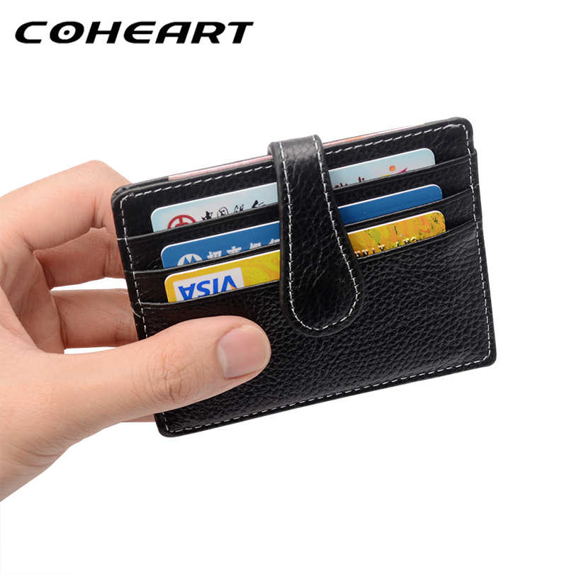 COHEART Brand Genuine Leather Card Wallet Small Purse Credit Card Holder Wallet Men Cowhide Leather Top Quality !