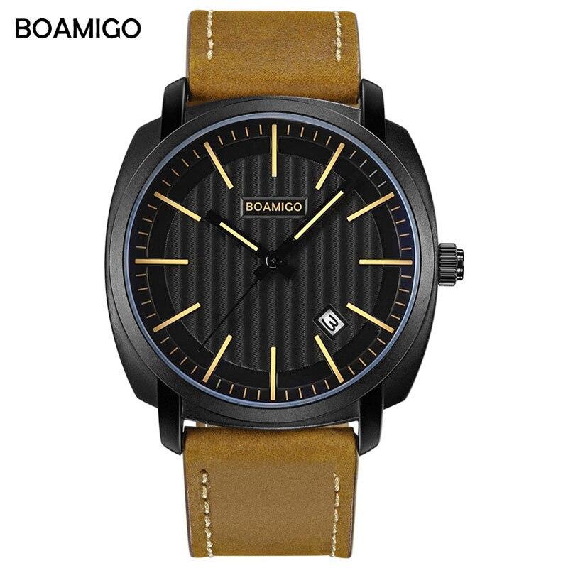 BOAMIGO Mens Watches Top Brand Luxury Quartz Watch Men Fashion Simple Waterproof Leather Complete Calendar Wristwatch New 2019