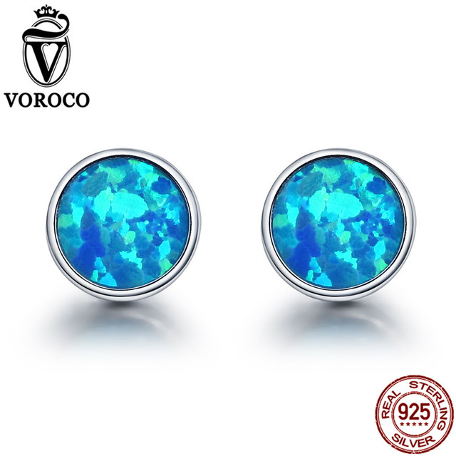 VOROCO Genuine 925 Sterling Silver Stud Earrings Simple Round Glitter Blue  Opal Earring Women Girls Fine Jewelry Brincos VSE090