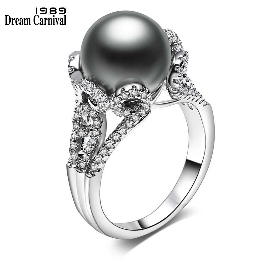 DreamCarnival1989 Brand New Grey Big Synthetic Pearl with White Cubic Zirconia Flower bague Luxury Party Rings for Women WA11564