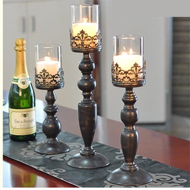 Modern black candlestick metal glass Nordic large Chandelier light moroccan kandelaar wedding centerpieces for tables 50ZT0008 4