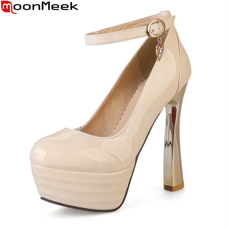 MoonMeek Plus size 32-44 women shoes high heel 13.5cm thick high heels party wedding shoes platform round toe pumps ladies shoes luxury brand crystal patent leather sandals women high heels thick heel women shoes with heels wedding shoes ladies silver pumps