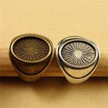 10 adet 14x10mm Oval halka tabanı bronz alaşım halka ayarları boş taban Fit düz cam Cabochon düğmeler halka çerçeveler Vintage aksesuar