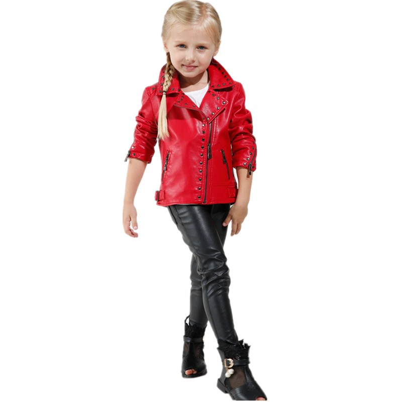 Hot Sale Imcce Rivet Faux Leather Red Baby Girl Jackets