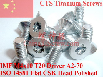 Stainless Steel screws M4x10  Torx T20 Driver ISO 14581 Flat CSK Head A2-70 Polished ROHS 100 pcs