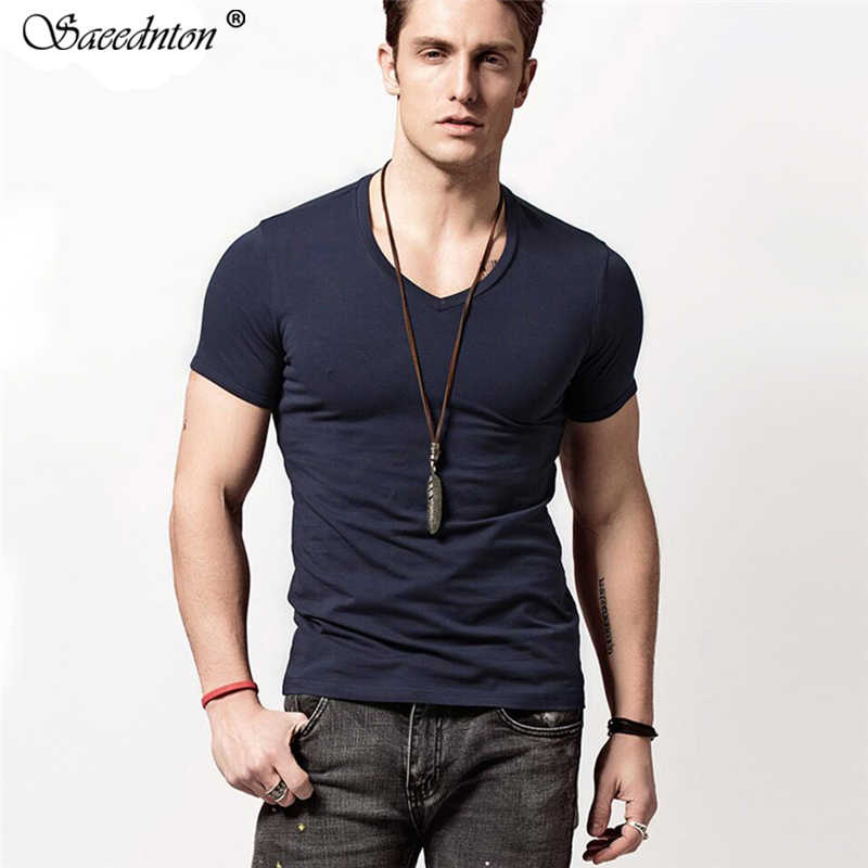 T-shirt Men Leisure Homme T Shirt Summer O-neck Short Sleeve Cotton Stretch Lycra Tight Men's Casual Tops Tees Slim Camisetas
