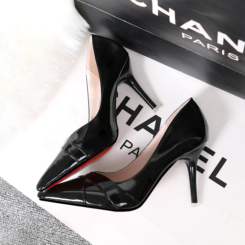 Leather High Heels Women Nude Heels Wedding Pumps For Ladies Pu Leather Cheap Woman Shoes Party Basic Pumps Hot Red Bottom Shoe