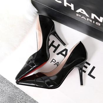 f4a55123a8 Los tacones altos de las mujeres zapatos negros zapatos de bombas de boda para  mujer de