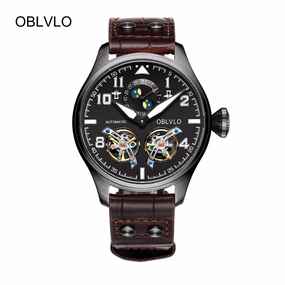 OBLVLO Mens Pilot Watches Tourbillon Moon Phase Complete Calendar Automatic Watches Black Steel Luminous Watches OBL8232OBLVLO Mens Pilot Watches Tourbillon Moon Phase Complete Calendar Automatic Watches Black Steel Luminous Watches OBL8232