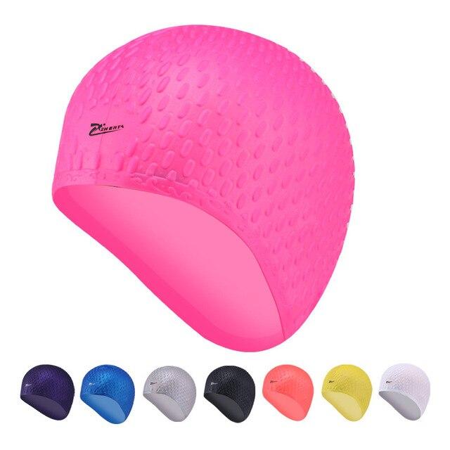 Novo spa touca de silicone touca de natação feminina senhora com cabelo  longo bolha cap ouvido fc4e3785d56