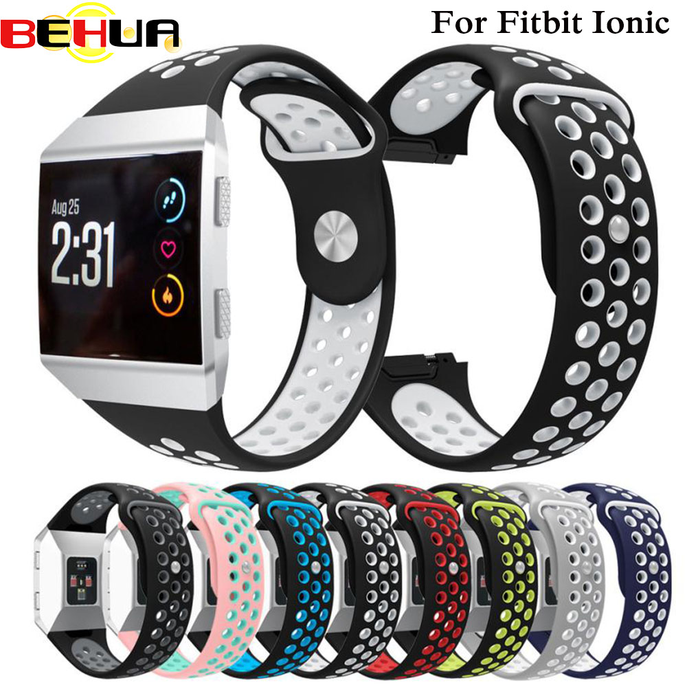 S L Size Double Color Sport Silicone Bracelet Strap Band For Fitbit Ionic Smart Watch Belt Watachband Sporting Goods Accessories
