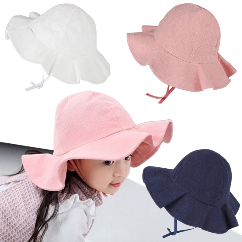 Wide Brim Baby Sun Hat Cotton Kids Bucket Cap Summer Beach Girls Travel Outdoor New Fashion Cute Casual Sun Hats