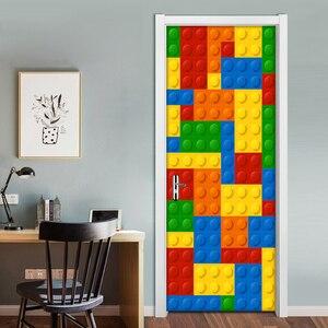 Image 5 - Настенные 3D обои для детской комнаты, кирпичи Lego, Декоративные самоклеящиеся дверные наклейки из ПВХ, водонепроницаемая