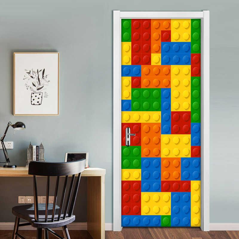 . 3D Wall Mural Wallpaper Kids Room Lego Bricks Children Room Bedroom  Decoration Self adhesive Door Sticker PVC Mural Waterproof