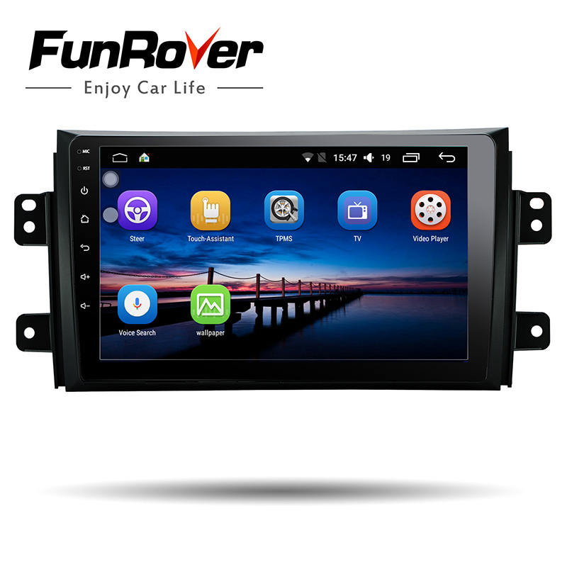 Funrover 9 2 din Android 8.0 Car Radio video audio Multimedia gps stereo for Suzuki SX4 2006-2013 audio wifi Bluetooth RDS USB funrover 9 hd quad core ram 2g android 8 0 car navigation gps player for suzuki sx4 2006 2013 wifi rds radio bt fm usb no dvd