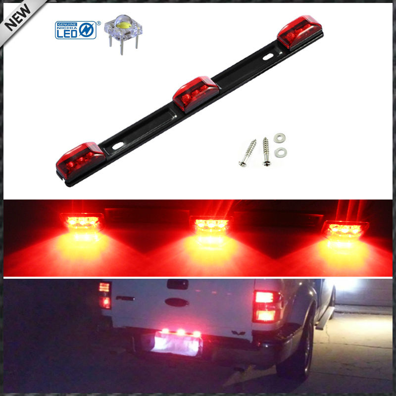 (1) Red 3-Lamp Truck/Trailer ID LED Light Bar For <font><b>Ford</b></font> <font><b>F150</b></font> F250 F350 Dodge RAM 1500 2500 3500 Chevy Silverado, GMC Sierra, etc image
