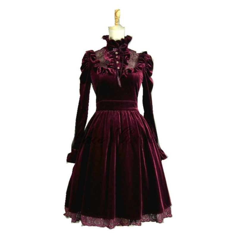 custom made Red Long sleeves Classic Gothic Lolita Dress  cosplay Cocktail  dress Size V-. US  98.00 d704b63b6199