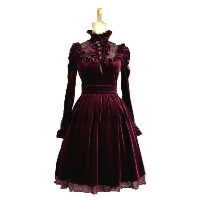 Robe Lolita gothique classique à manches longues rouge sur mesure/robe de Cocktail cosplay taille V-906