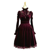 custom made Red Long sleeves Classic Gothic Lolita Dress/ cosplay Cocktail dress Size V 906