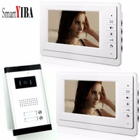 SmartYIBA 7 Apartment Wired Video Interphone Audio Intercom Door Bell Video Deurbel Intercom Door System For 2 Units Rooms