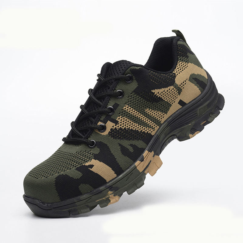b6c5ed3a2923e Safety Steel Toe Shoes Men Waterproof Work Shoe Labor Insurance Puncture  Proof Sneakers Mens Military Army Camo Boots | My Baby Gecko