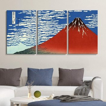 Katsushika Hokusai World Famous Painting Reproduction on Canvas Wall Art Red Fuji South Wind, Ready to Hang Drop shipping