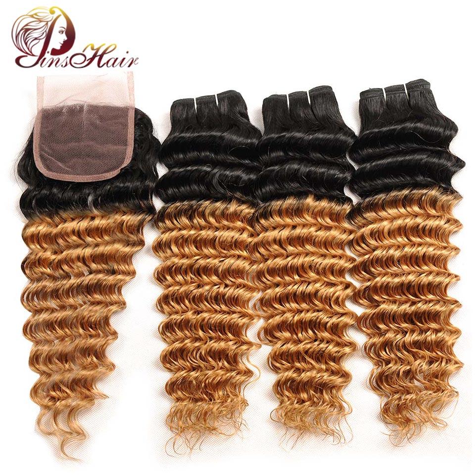 Pinshair Малайзии глубокая волна волос Ombre Связки с закрытием блондинка T1B/27 человеческих волос Weave 3 Связки с закрытием не Волосы remy