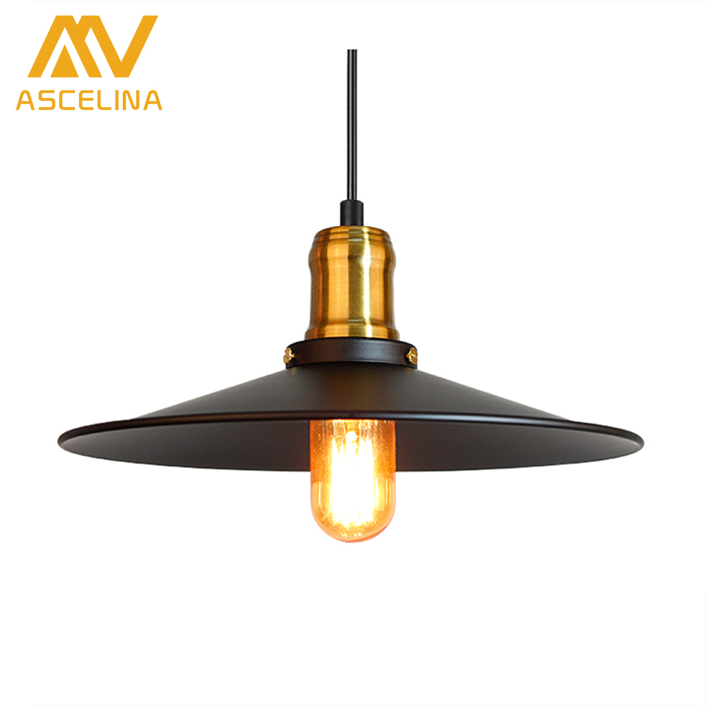 ASCELINA loft pendant lights led lamp vintage industrial Kitchen Lamp Pendant Lighting Decoration black lamp shade E27 85-260V купить