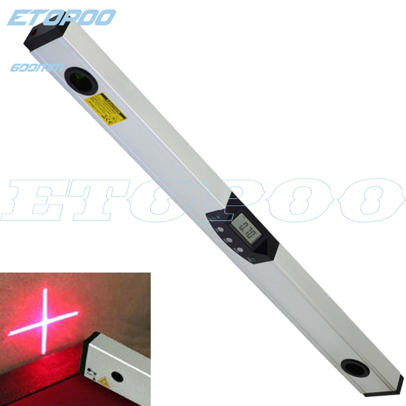 60cm 24 Digital Protractor 0 600mm digital Inclinometer Laser Spirit Level laser cross line