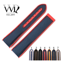 Rolamy Watch Band 20 22mm Strap Wholesale Rubber Silicone With Nylon Replacement Watchbands Belt For Planet Ocean 45 42mm