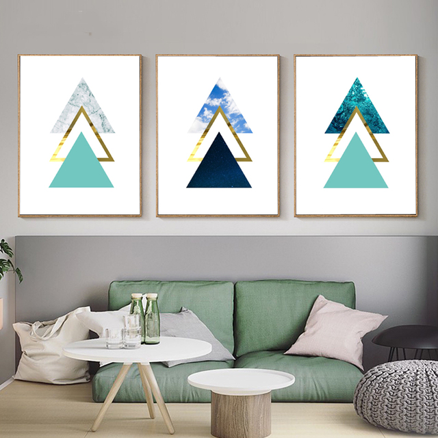 Us 7 72 Nordic Landscape Canvas Paintings Geometric Triangles Aqua Posters Print Sky Ocean Modern Wall Art Pictures Home Room Decorative In Painting