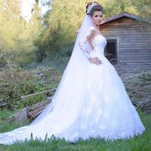 Hot Sale Long Sleeves Lace Bridal Gown Vintage Romantic Lace Wedding Dress hochzeitskleid gown de mariage 2016 Custom Made