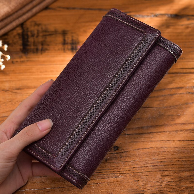 Genuine Leather Women Long Purse Retro Cowhide Wallet 2018 Fashion Thread Clutch Wallet Female Phone Bag Card Holder Bags~16P3 new head layer cowhide purse female butterfly skin carving bag long wallet retro handbag leather lady purse