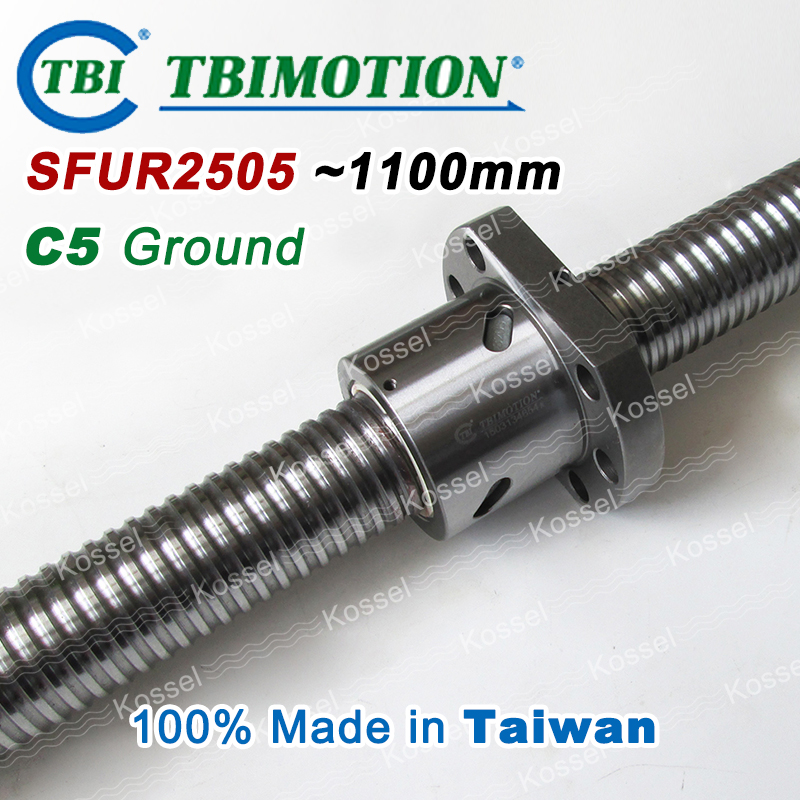 TBI MOTION BallScrew assembly  SFU2505 1100mm ball screw SFU 2505 ball nuts and end machined for high stability linear CNC parts tbi dfi 2505 600mm ball screw milled ballscrew and end machined for high stability linear cnc diy kit