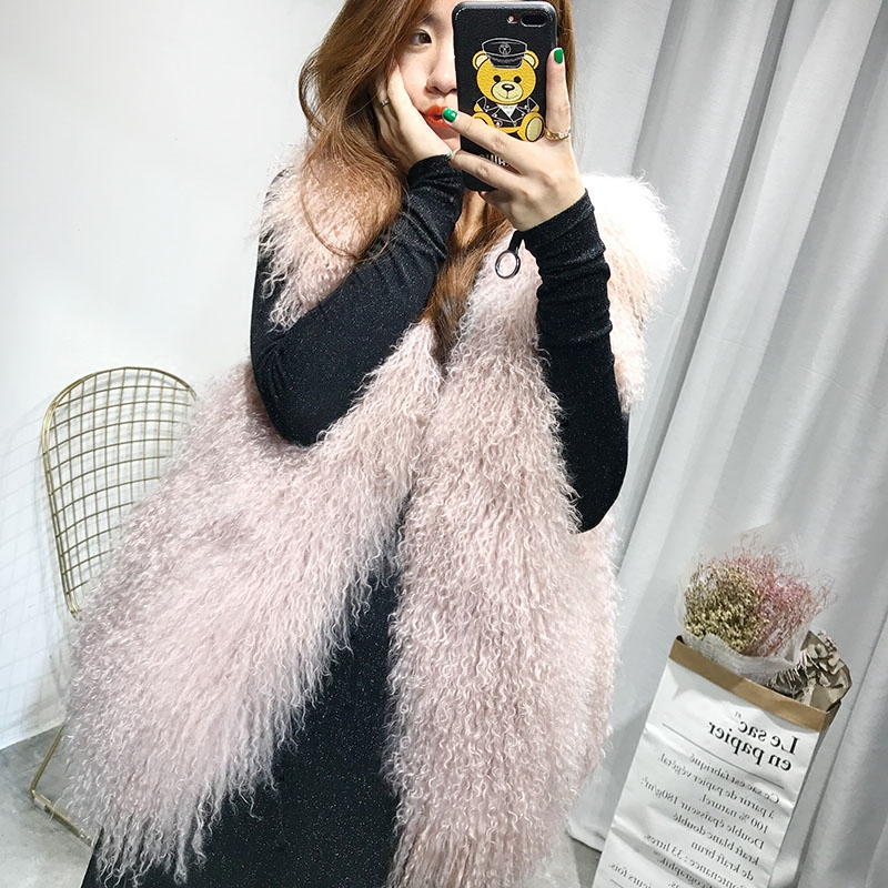 Real Fur Vest Fashion Winter Women Real Fur Mongolia Sheep Waistcoats Sleeveless Vest Waistcoat Gilet Long Women Veste Female