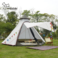New Arrival 3 4 Person Use Ulterlarge Ultralight Aluminum Poles Waterproof Teepee Tent Large Gazebo Sun Shelter