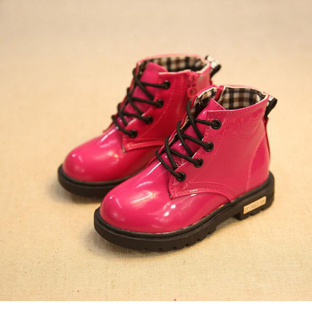 Hiver Enfants Bottes De Neige PU Cuir Imperméable Enfants Martin Bottes Garçons Filles Casual Chaussures+cotton -Noir 6EAjonZgFs