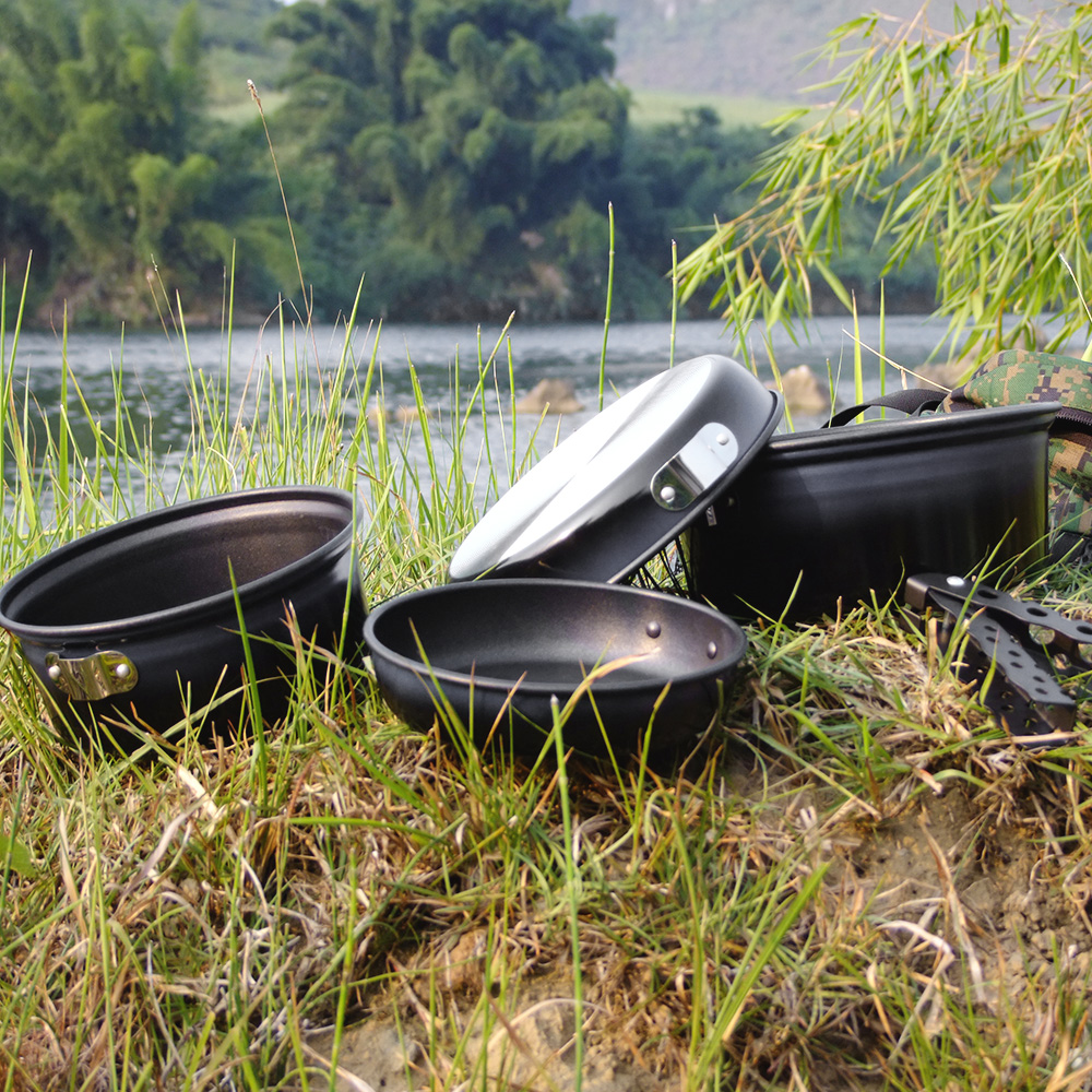 Image 5 - Outdoor Camping Pot Set Non stick Camping Cookware 2 3 Person Cook Set Nonstick Pot Pans for Backpacking Hiking Picnic-in Outdoor Tablewares from Sports & Entertainment