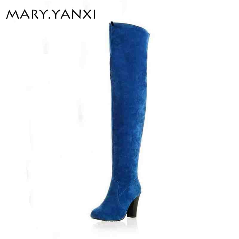 Suuri koko 34-43 naisten saappaat muoti Yli-polvi-kantapää pitkät - Naisten kengät - Valokuva 1