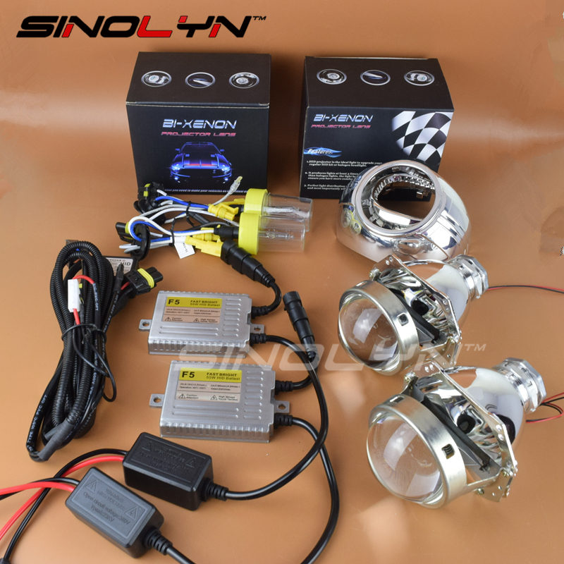 SINOLYN 3.0 inch 55W HID Bi xenon Projector Lens Headlamp Lenses Fast Bright W/WO Angel Eyes Kit H4 Headlight Retrofit DIY sinolyn 35w 3 0 inch bi xenon square lens projector hid headlights full metal headlamp glasses lenses diy kit hi lo car styling