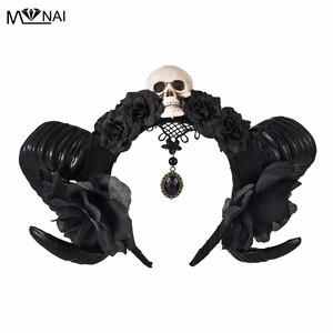 Image 1 - Diadema de Halloween con cuernos del diablo para niñas, tocado de flores, tocado, diadema gótica de cuerno de oveja, accesorio para la cabeza de Cosplay