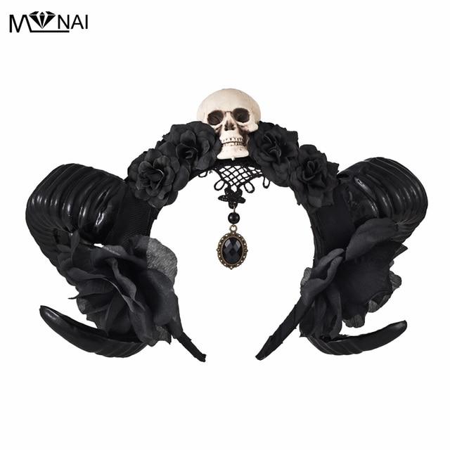 Diadema de Halloween con cuernos del diablo para niñas, tocado de flores, tocado, diadema gótica de cuerno de oveja, accesorio para la cabeza de Cosplay