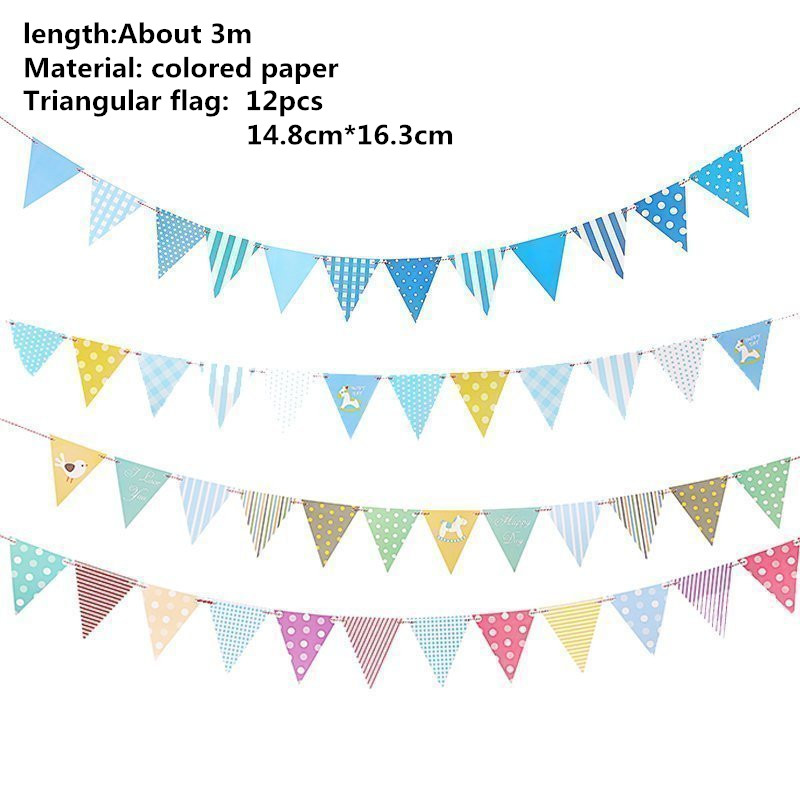 12 Flags 3.2m Colorful Cotton Bunting Banners Pennant Newborn Baby Bed Decor Shower Birthday Wedding Garland Flags Decoration