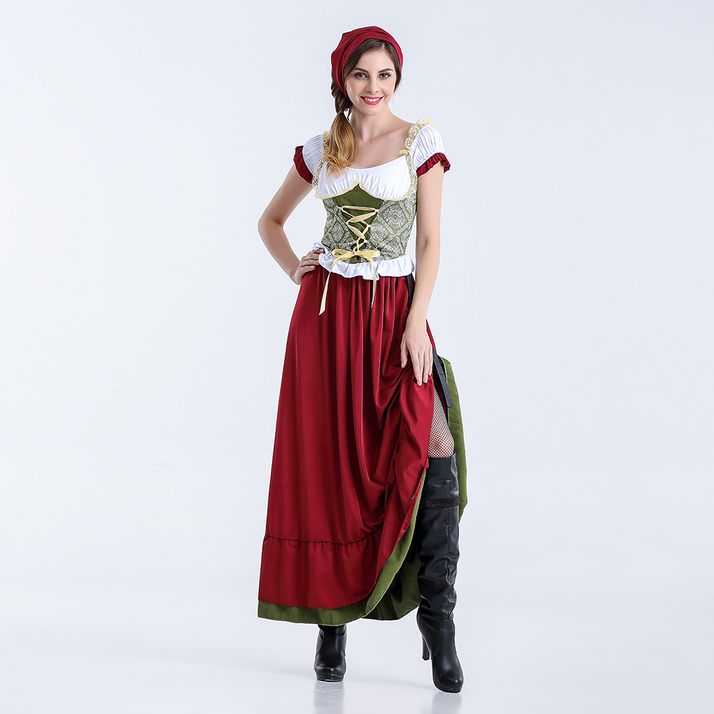 VASHE JIANG German Bavarian Maid Costume Uniform Oktoberfest Carnival Beer Girl Costume Outfit