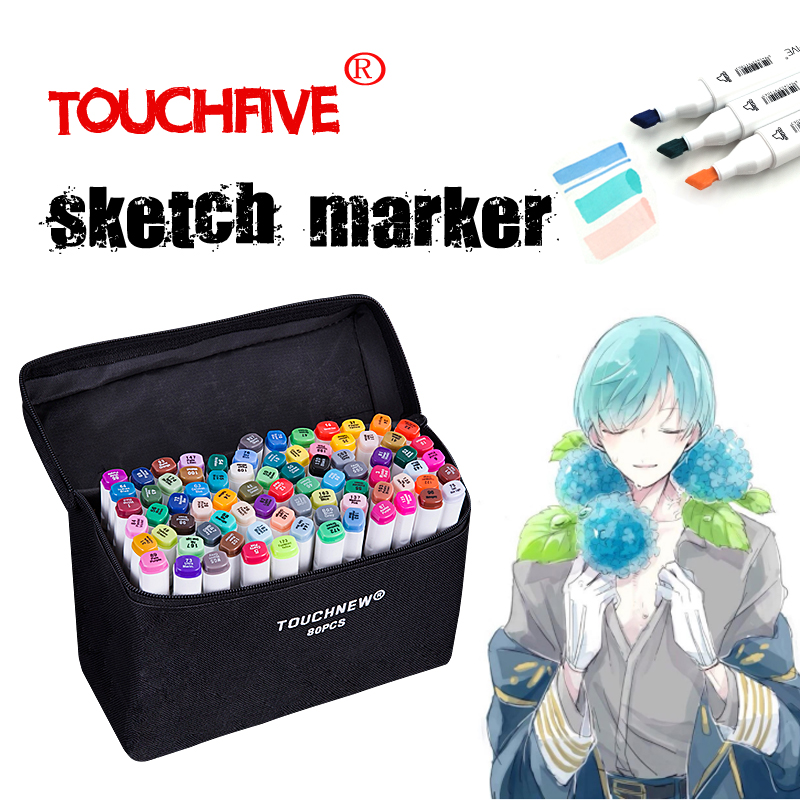 TouchFIVE marcador/30/40/60/80/168 colores arte conjunto de marcadores de doble cabeza retrato grasa pluma Manga pluma pintura