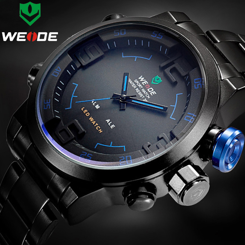 WEIDE Top Luxury Brand  Men Steel Watches Men's Quartz Analog LED Clock Man Fashion Sports Army Military Wrist Watch Erkek Saat 2018 new luxury brand weide men watches men s quartz hour clock analog digital led watch pu strap fashion man sports wrist watch