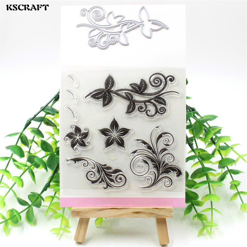 KSCRAFT Grass Transparent Clear Silicone Stamp And Cutting Dies Set for DIY scrapbooking/photo album Decorative lovely animals and ballon design transparent clear silicone stamp for diy scrapbooking photo album clear stamp cl 278