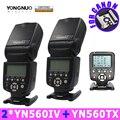 накамерный свет для фотоаппарата вспышка для фотоаппарата фотовспышка 2 шт. Yongnuo YN560IV 560IV Speedlite вспышка + YN560-TX беспроводная вспышка для Canon цифровых зеркальных камер 5D 60D 6D 7D 60D 5D3